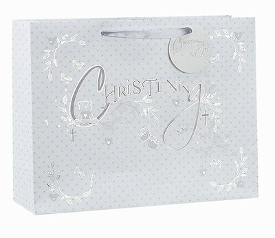 Christening Silver Foil Luxury Gift Bag - Choice of Small, Medium or Large