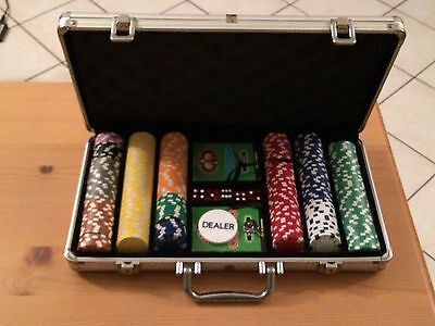 Valigia DAL NEGRO texas hold'em poker in alluminio 299 fiches 11,5 gr carte,dadi