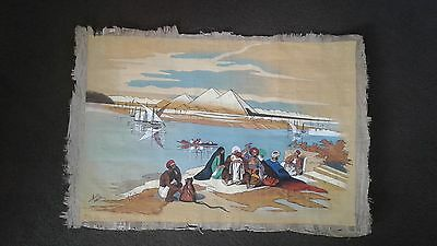 vintage painting on papyrus signed Anis Wazir