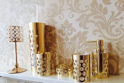 Gold Plated Metal Acrylic Bathroom Accessory Set Tumbler Toothpaste Soap Brush