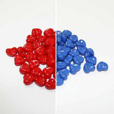 50 Red or Blue Smooth Heart Shaped Czech Glass Beads size 8mm