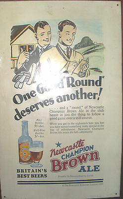 """NEWCASTLE BROWN ALE 24"""" x 15"""" TIN-PLATE GOLF SIGN IN VERY GOOD USE CONDITION"""