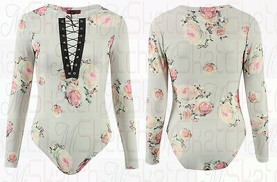 New Ladies Floral Print Long Sleeves Lace & Eyelet V Neck Bodysuit