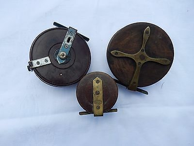 4 x old centre pin fishing reels