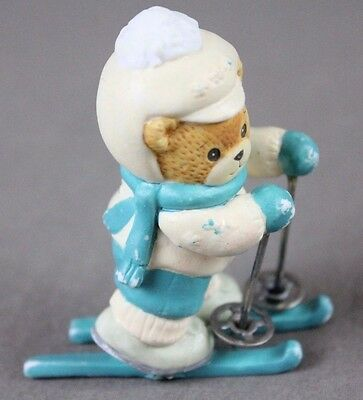 Lucy & Me 1990 Enesco Lucy Rigg Teddy Skiing Bear Winter Snow