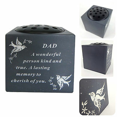 Slate Grey Memorial Flower Vase – Dove & Diamante Detail Grave Plaque Tribute