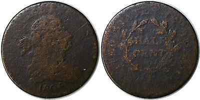 1806 1/2C Small 6 Draped Bust Half Cent About Good Details