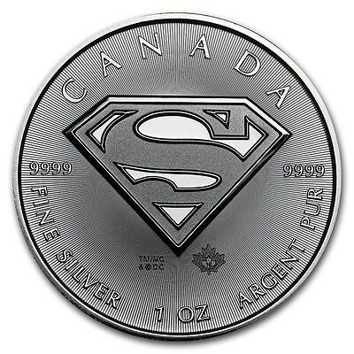 (25) 2016 Canadian $5 Maple Leaf Superman S Shield 1 oz .9999 Silver Coin