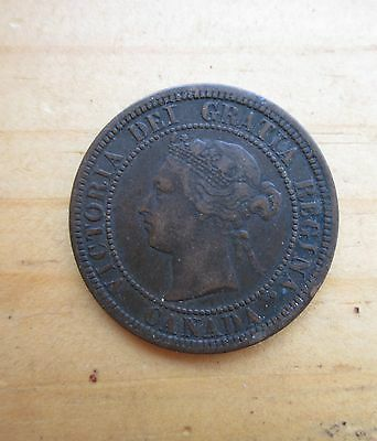 Antique old 19th Century 1881 H Canada CANADIAN One Cent COPPER COIN