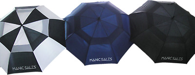 "3Pack Manic Sales 60"" Double Canopy Golf Umbrellas"