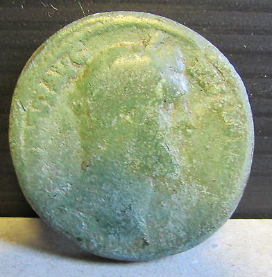Ancient Original Unidentified Large Thick Roman Coin