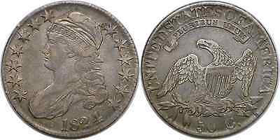 1824 4 Over 4 50C Silver Capped Bust Half Dollar Very Fine