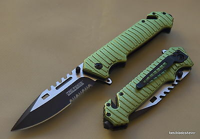 "Tacforce Spring Assisted Tactical Rescue Knife With Pocket Clip - 8.75"" Overall"