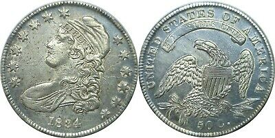 1834 SD/SL 50C Silver Capped Bust Half Dollar About Uncirculated Details