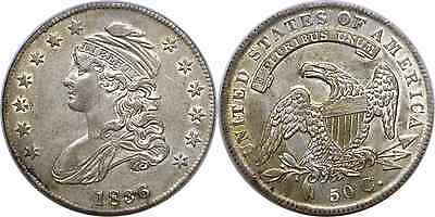 1836 50C Silver Capped Bust Half Dollar Lettered Edge Almost Uncirculated