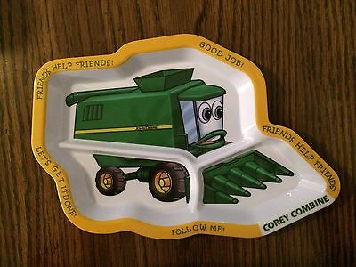 Rare Collectible John Deere Corey Combine Kids Plate 2010 3 Section Clearance $$