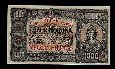 HUNGARY  8 FILLER on 1000  KORONA ( 1925 )  PICK # 81b  XF.