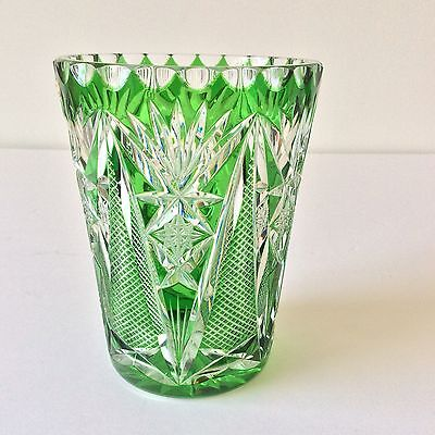 "Emerald Green Hand Cut To Clear Lead Crystal Vase Us German Zone 6.25""h Vintage"