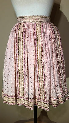 1950 FRENCH Vintage PINK COTTON EYELET and RIC RAC trim ROCKABILLY SWING SKIRT