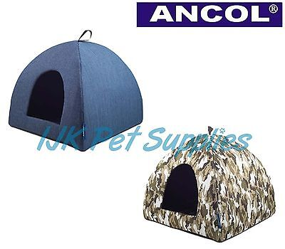 Ancol Sleepy Paws Cat Small Dog Denim Blue or Combat Green Pyramid / Igloo Bed