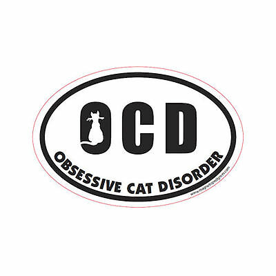 OCD Obsessive Cat Disorder Oval Euro Style Car Dog Magnet