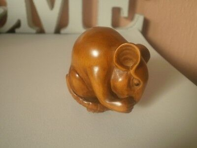 Hand carved wood netsuke Mouse scratches ear, antique style collectable figure