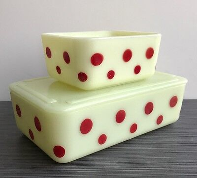 McKee Glass Co. Red Dots Refrigerator Dishes (Set Of Two)