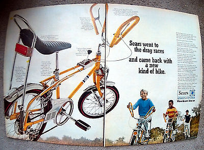 1968 Sears Screamer Bicycle-Like a Dragster-Original 2 Page 13.5*10.5 MagazineAd