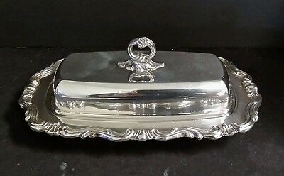 Silverplate Butter Dish w/ Glass Insert by FB Rogers Silver Co 1883