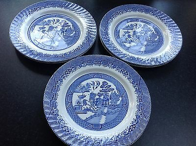 """6 Vintage WILLOW - """"Barratts of Staffordshire"""" Dinner Plates"""