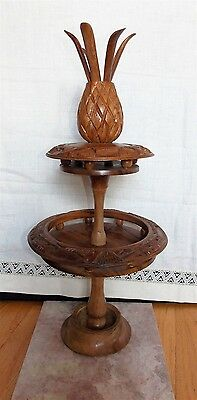 VINTAGE MONKEYPOD WOOD 2 TIER Luau Tiki SERVING TRAY WITH A PINEAPPLE TOPPER