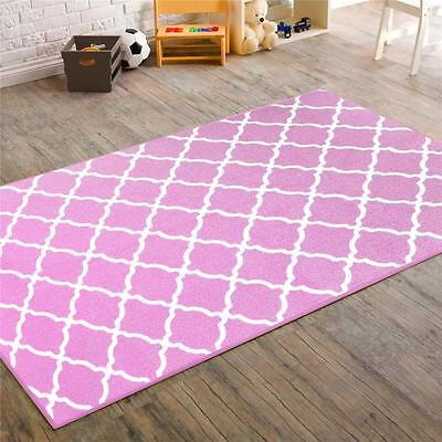 Girls Teen Pink Geometric Fretwork 40x56 Accent Rug Kids at Home FREE SHIPPING