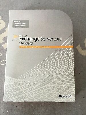 NEW Retail Microsoft Exchange Server 2010 Standard 64 Bit - 5 user CALs Licence