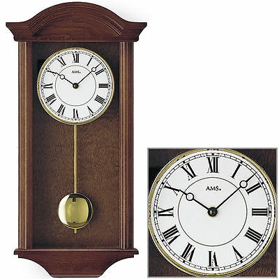 AMS Quartz wall clock with pendulum Walnut Melody Westminster New
