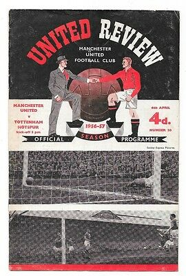 Manchester United v Tottenham Hotspur, 1956/57 - Division One Match Programme.