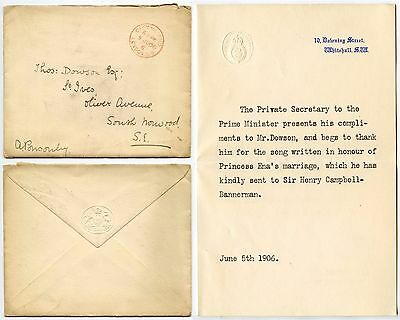 Gb 1906 Prime Minister Campbell Bannerman Letter + Env.official Paid Downing St