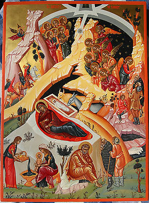 Hand painted icon - Nativity of Christ