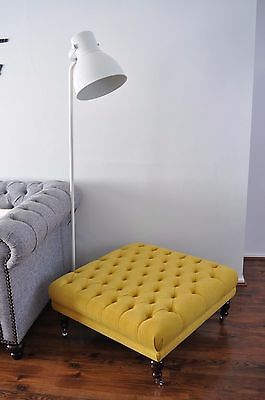 "Large 34"" X 34"" X 16"" Buttoned Footstool Chesterfield Stool  Yellow Fabric"