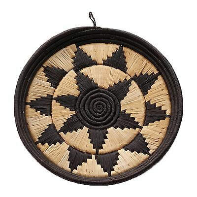 African Basket Round Display Tray Exquisite Hand Woven Black Raffia Natural