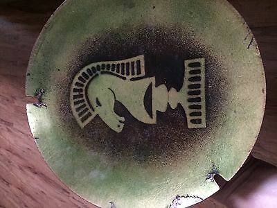 CHESS HORSE KNIGHT Weigh Scale PlateVINTAGE GREEN COPPER ENAMEL