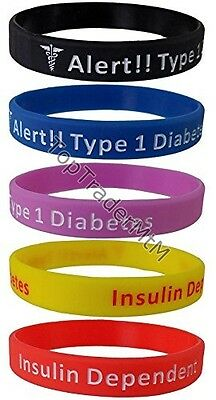Diabetes Type 1 Silicone Wristband Bracelet Medical Insulin Alert HIGH QUALITY