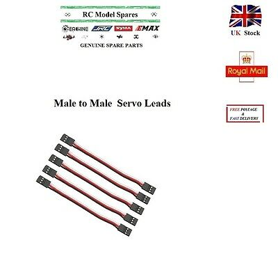5x 30cm Servo Leads MALE to MALE Cables Wires Futaba JR Connectors 300mm RC UK