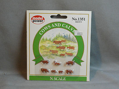 Model Power N Scale No 1351 (7) Cows and Calves (Brown)