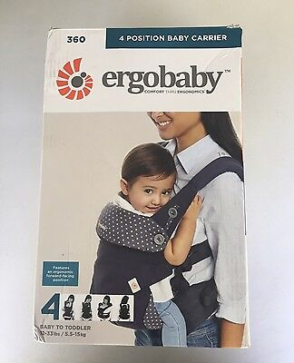 NIB Ergobaby 360 4 Position Baby Carrier - Dusty Blue; MONEY BACK GUARANTEE