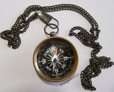 """Nautical Compass Necklace, Jewelry, Pendant, Antique finish Brass 30"""" chain #K9"""