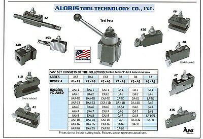 Aloris AXA Quick Change Lathe Tool Post +10 Holder Set #1-AS