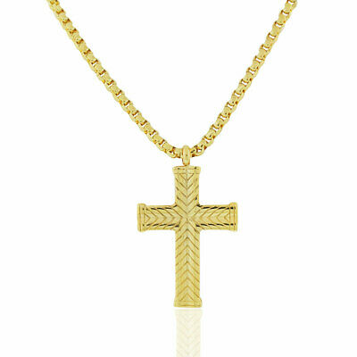 EDFORCE Stainless Steel Gold-Tone Large Statement Mens Cross Pendant Necklace