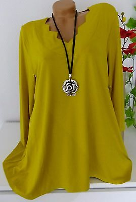 New Jersey Tunika Bluse Kleid  Lagenlook A-Form Longshirt Curry 46 48 50 52