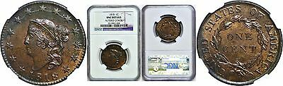 1818 1C Coronet Head Large Cent NGC Uncirculated Details