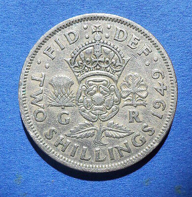 1949 two shilling coin. florin. 2 shilling. George VI